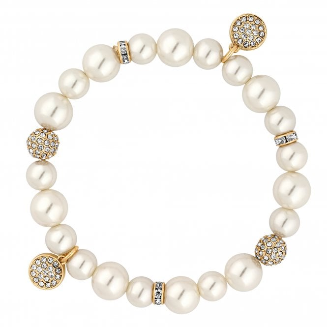 Gold Pave Ball And Pearl Stretch Bracelet