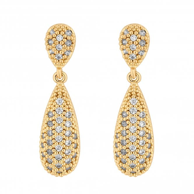 Gold Pave Crystal Peardrop Drop Earring