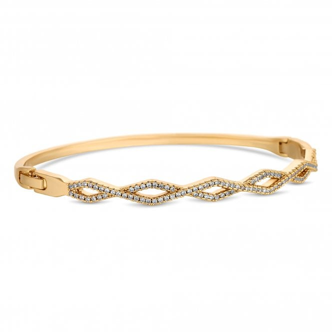Gold Pave Cubic Zirconia Bangle
