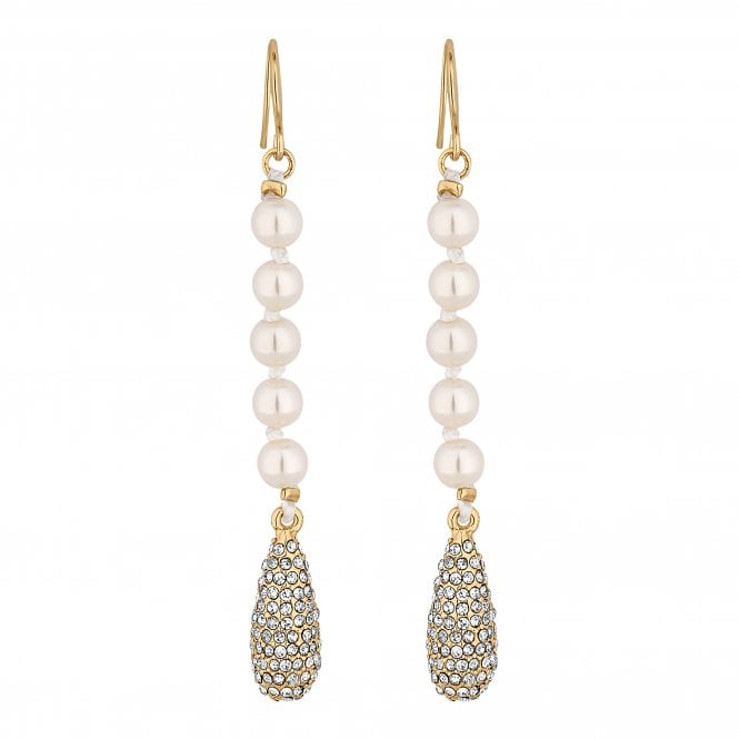 Gold Pave Droplet Pearl Drop Earring