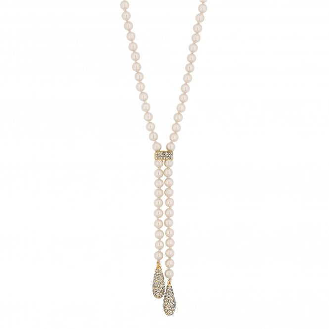 Gold Pave Droplet Pearl Lariat Necklace