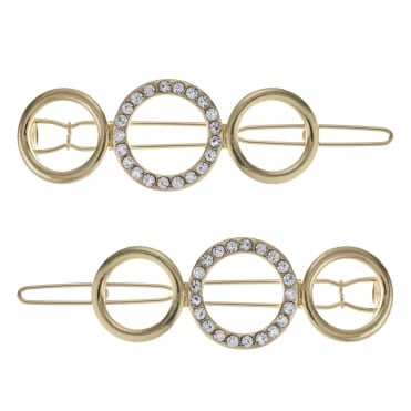 Gold pave open circle hair slide set