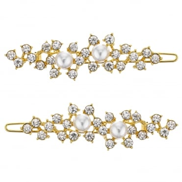 Gold pearl and crystal hair slide set