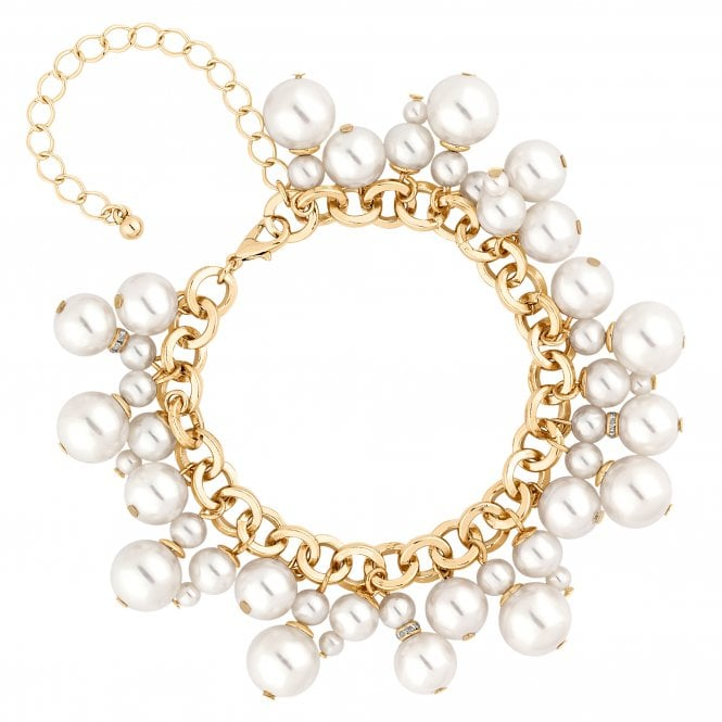 Gold Pearl Cluster Charm Bracelet