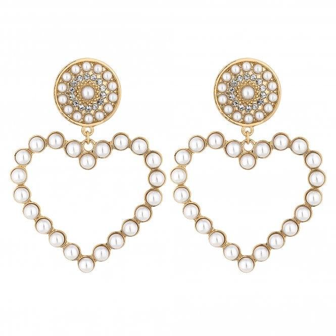 Gold Pearl Heart Hoop Earring