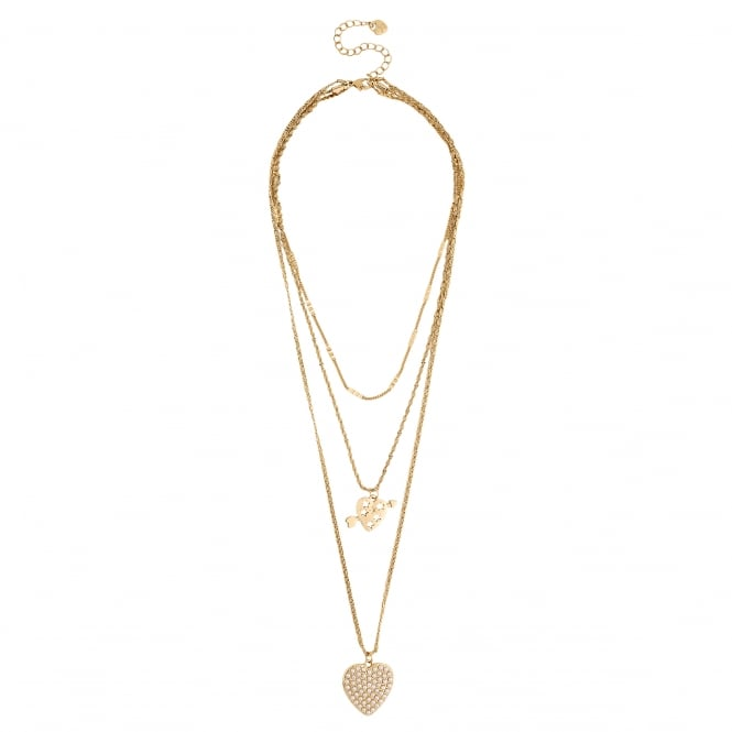 Gold Pearl Heart Multi Row Necklace