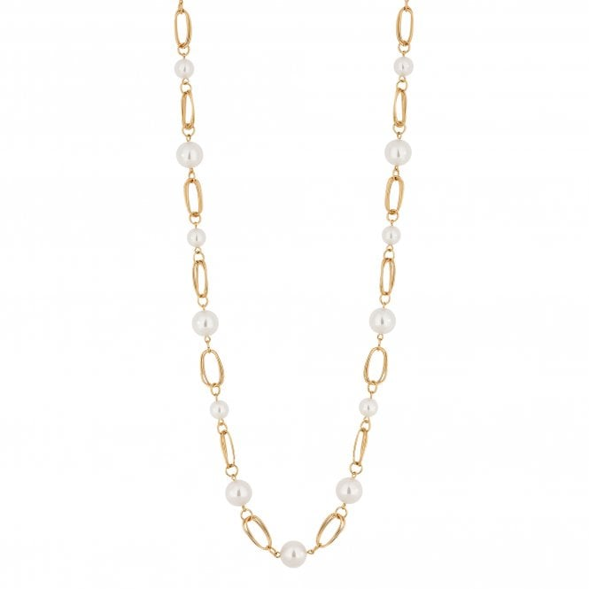 Gold Pearl Link Long Necklace