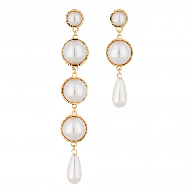 Gold Pearl Mismatch Drop Earring