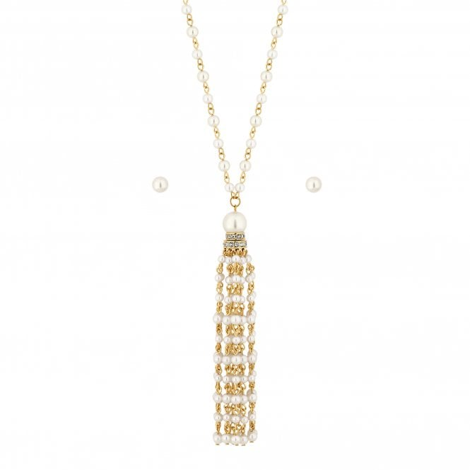Gold Pearl Tassel Jewellery Set