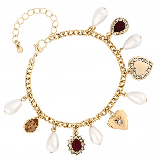 Gold Red Crystal Charm Bracelet