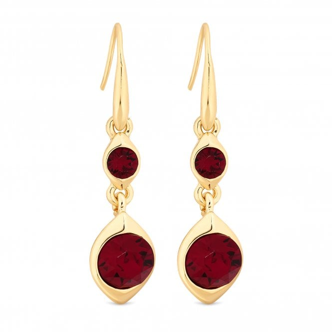 Gold Red Crystal Double Drop Earring Embellished With Swarovski Crystals