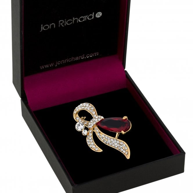 Gold Red Crystal Ribbon Swirl Brooch