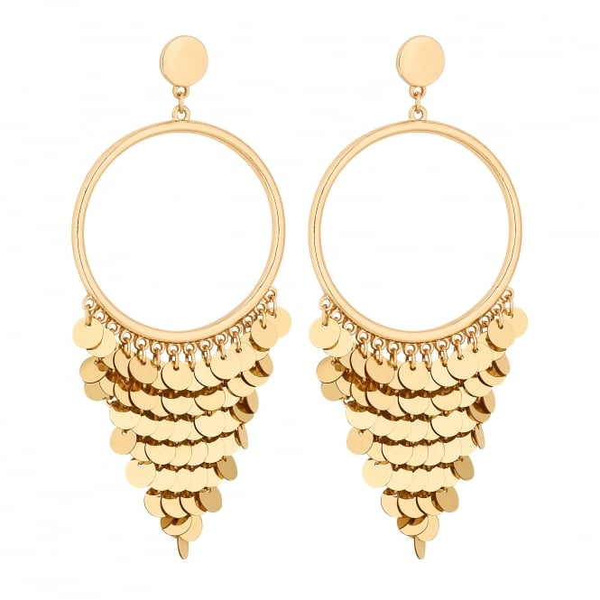 Gold Sequin Fringed Statement Earrings