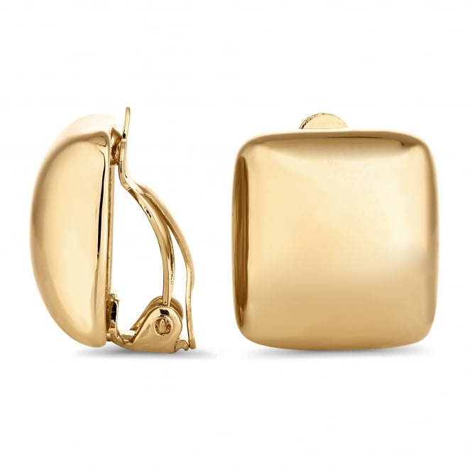Gold square clip on earring