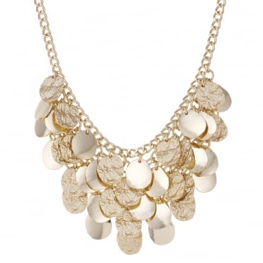 Gold textured droplet layered necklace
