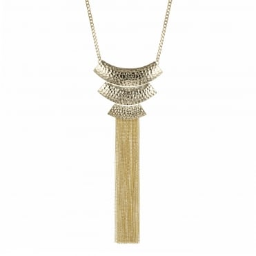 Gold textured long chain fringe necklace