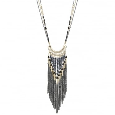 Gold tonal bead and tassel drop necklace