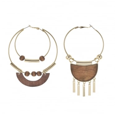 Gold wooden statement odd hoop earring