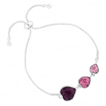 Silver Pink Graduated Heart Bracelet Embellished With Swarovski® Crystal