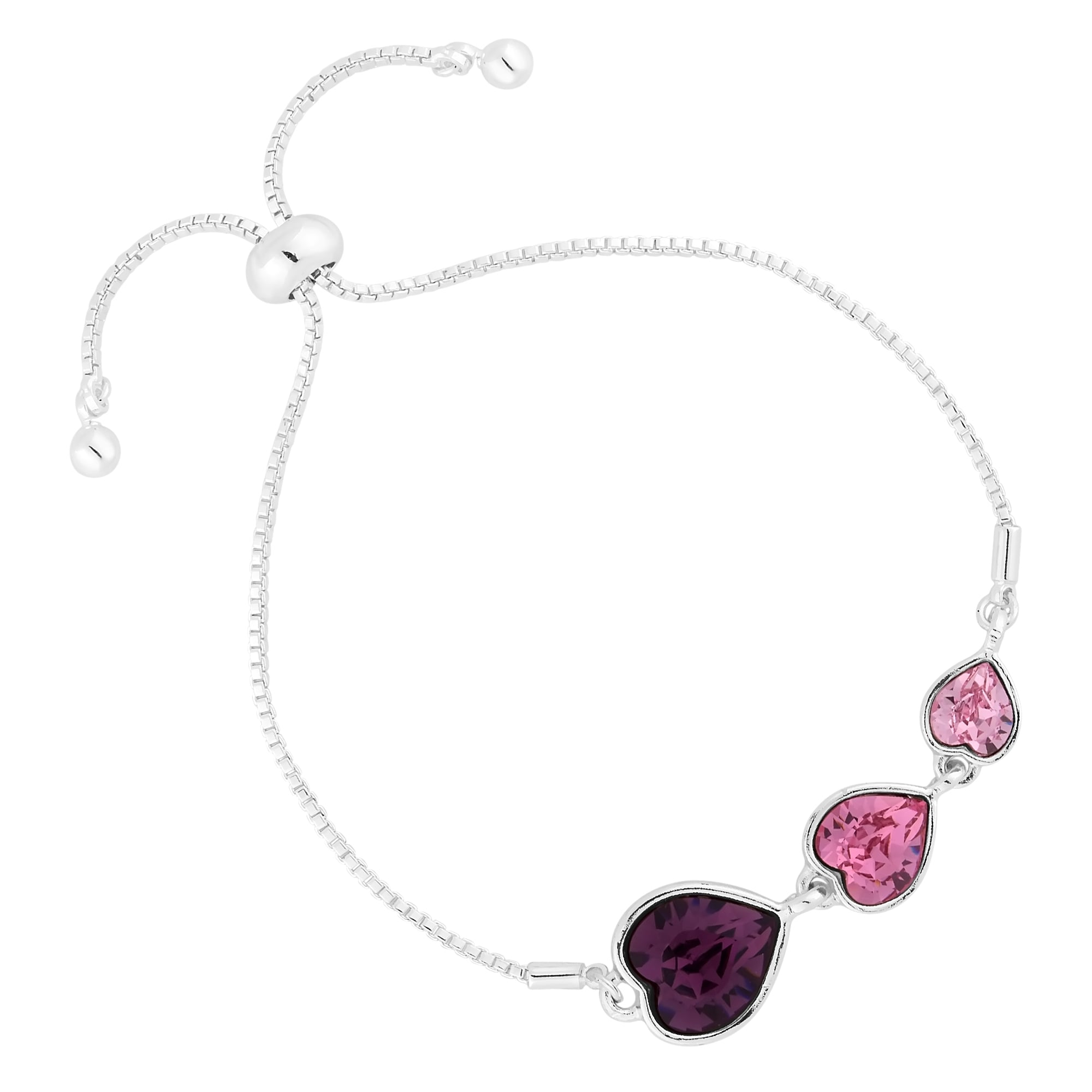 roodle noodle silver heart sterling rice bead pink enamel charm with ball bracelet