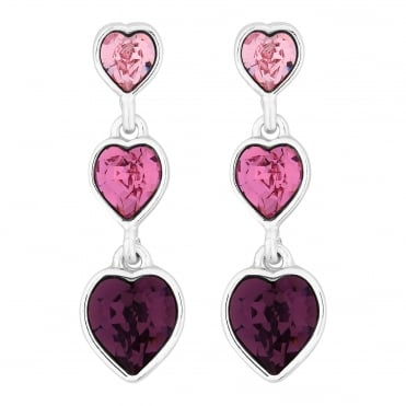 Graduated heart drop earring created with Swarovski crystals