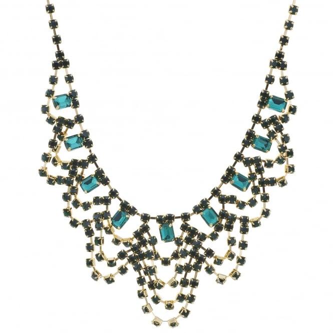 Green crystal diamante loop bib necklace