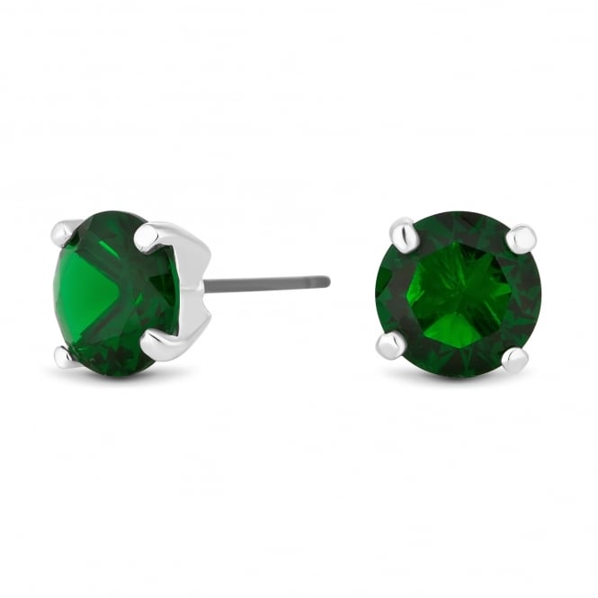 Green cubic zirconia stud earring