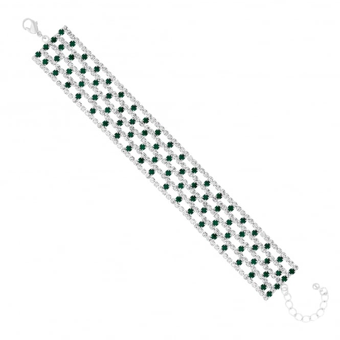 Green Crystal Diamante Bracelet