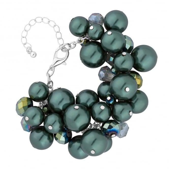 Green Pearl Cluster Bracelet