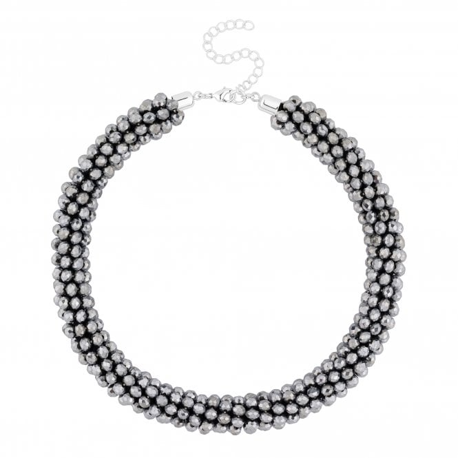 Grey Beaded Collar Necklace