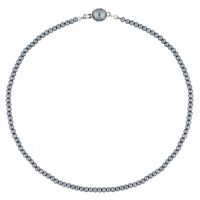 Grey Charcoal Pearl Clasp Necklace