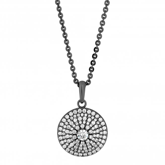 Grey Crystal Pave Disc Long Necklace