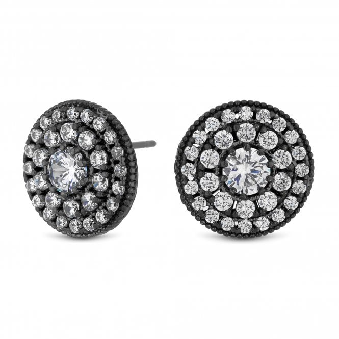 Grey Crystal Pave Disc Stud Earring