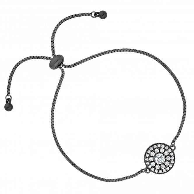 Grey Crystal Pave Disc Toggle Bracelet