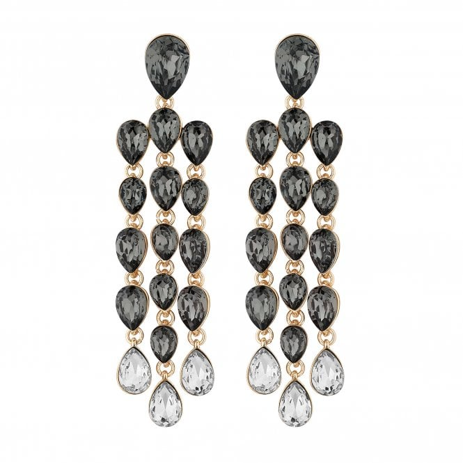 Grey Crystal Peardrop Chandelier Drop Earring