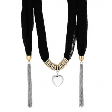 Black Heart Charm Scarf Statement Necklace