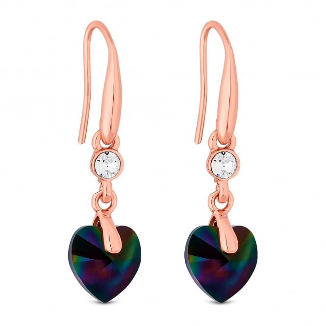 Jon Richard made with Swarovski® crystals Gold Black Heart Drop Earring Embellished With Swarovski® Crystals
