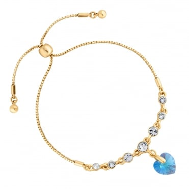 Gold Blue Heart Toggle Bracelet Embellished With Swarovski® Crystals