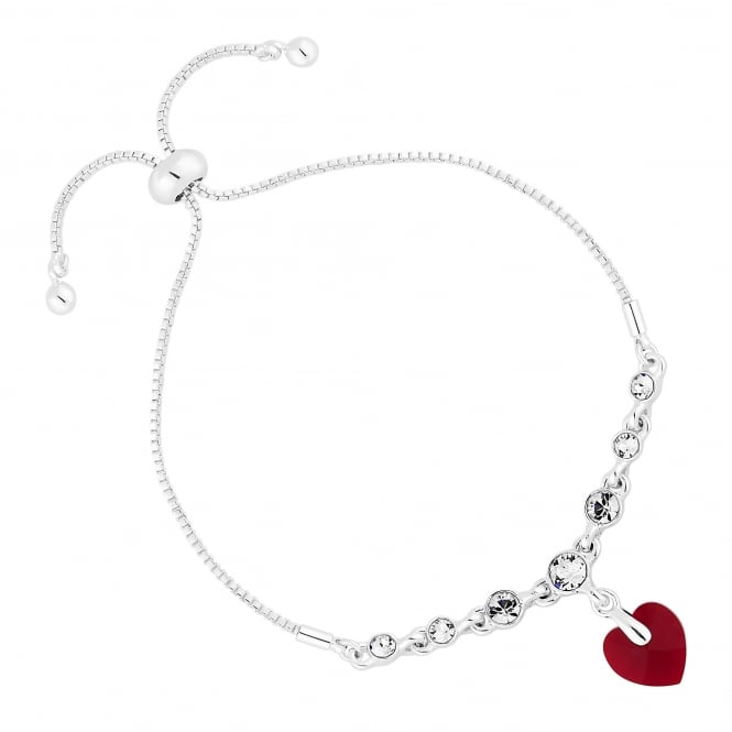 Jon Richard made with Swarovski® crystals Silver Red Heart Toggle Bracelet Embellished With Swarovski® Crystals