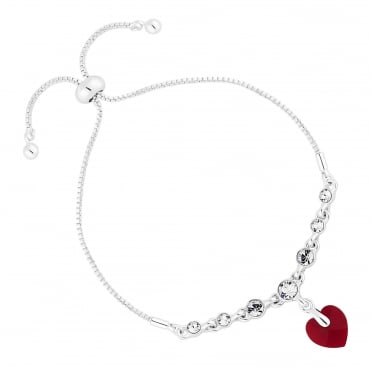 Silver Red Heart Toggle Bracelet Embellished With Swarovski® Crystals