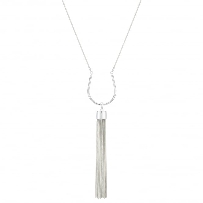 Silver Curved Tassel Long Necklace