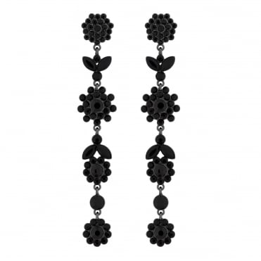 Jet crystal floral drop earring