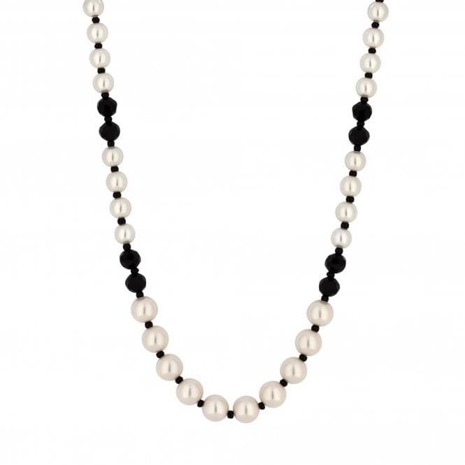 16' Black And Cream Pearl Beaded Necklace