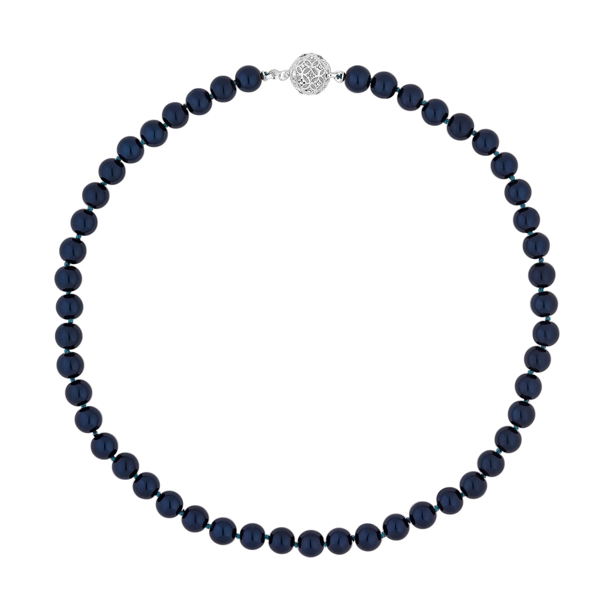 38c709a59 Jon Richard 17' Navy Blue Pearl Necklace With Filigree Ball ...