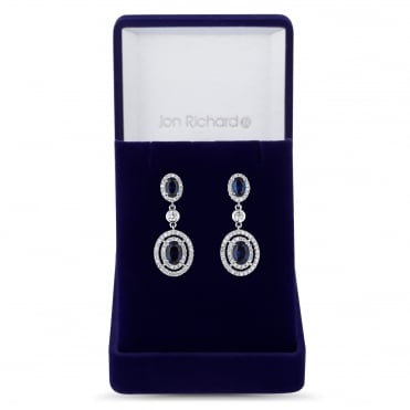 Allure Blue cubic zirconia oval drop earring