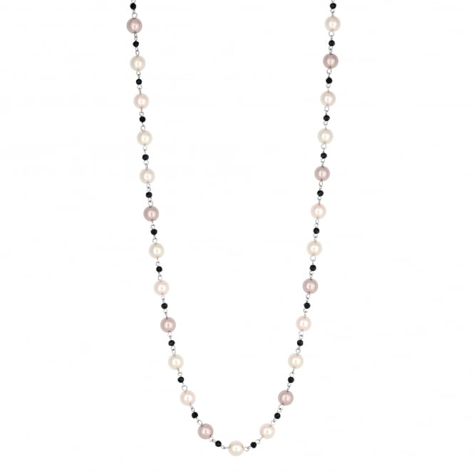 Black Bead And Pink Pearl Necklace