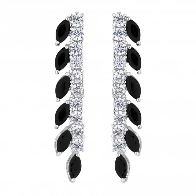 Black Crystal Navette Linear Drop Earring
