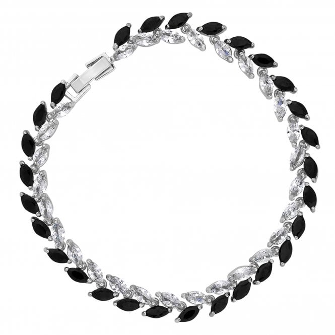 Black Crystal Navette Statement Bracelet