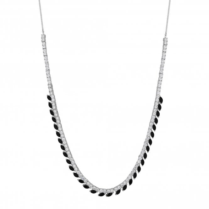 Black Crystal Navette Statement Necklace