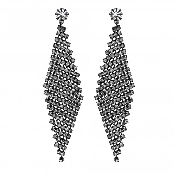 Black Curved Diamante Statement Drop Earring